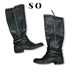 SO Tall Braided and Studded Boots Size 8
